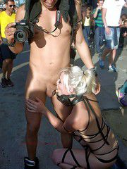 Wow, she sucks his dick on the street, shocking photos of this depraved nudist moms