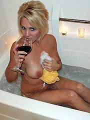 Busty blonde ex-wife naked in the bathroom, she was drunk