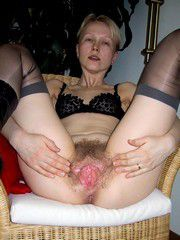 hot blondemature wife in stockings showing her wet pussy