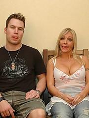 Cute milf blows younger man
