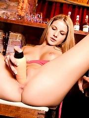 Blistering bartending belle sticking a..