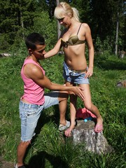 Naughty blonde gets nasty outdoors