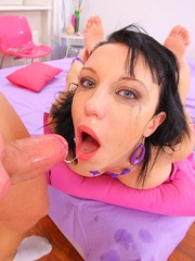 Teen gets sloppy and messy from throat fucking