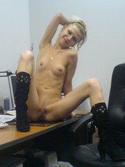 Slim teen sluts posing in office and..