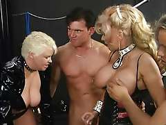 Two kinky matures & three guys