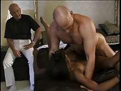 Dirty black whore deep throats a hard..