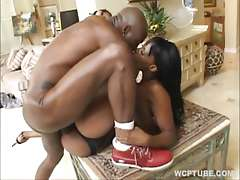Ebony in black bikini fucked by a long cock