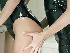 Strap on and latex lesbian fun