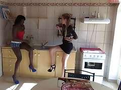 sweet FFM action in the kitchen