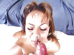 Dunia Montenegro gets her face doused with warm cum