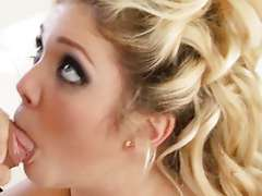 Dolled Up Blonde With Hairy Snatch Takes A Facial