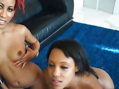 Two Ebony Girls Getting Fucked By One..
