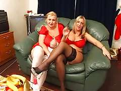 Two mature British BBWs and one lucky guy