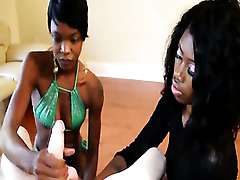 Two nubian handjob babes wank white dude