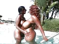 ebony lesbians pool fuck