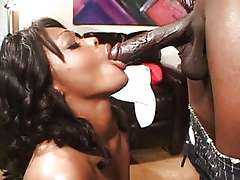 Red latex boots ebony Storm anal fuck
