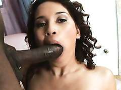 Hot Latina blowing long black cock