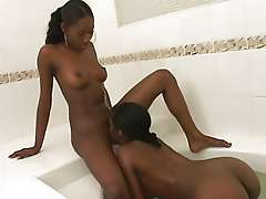 Dark ladies in lesbian sex scene
