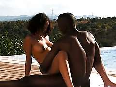 Ebony buckle exploring their ravenousness desire outdoors