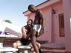 Black gays near the pool Franco Cento and Sandro