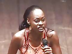 African Woman Comedian Yawning chasm Throats A Dildo Black porn