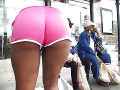 Ebony Ass Up in Pink Short