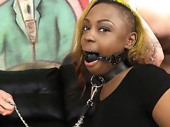 Black Slut Relative to A Ball Gag Roughed Near By Sallow Guys Black porn