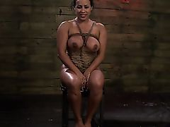 Busty bondage ebony blindfolded and..