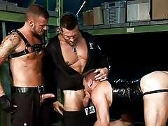 trolley dollies gay BDSM threesome video
