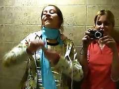 Petite Natasha chick naked at tthe public toilet