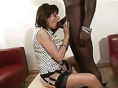 Black cock loving milf sucking