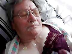 Old german granny  the last huge facial cumshot
