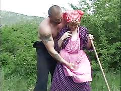Russian granny, old outdoors