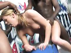 Gang bang for white slut sucking