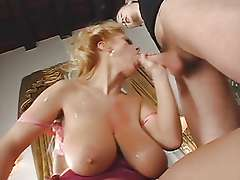 Busty mature takes in all holes