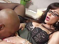 Big tits and ass MILF gets her brains fucked by black cock