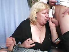 Blonde grandmother has banged by couple phalluses