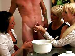 Mature CFNM euro babes add cum to their recipe Mature CFNM euro babes add cum to recipe in this HD..