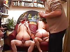 Two cute matures gangbanged.
