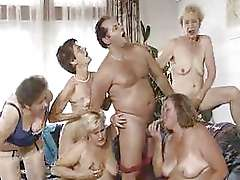 Five grannies and man, awesome last orgy