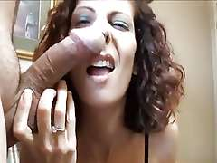 Crazy mature wife sucks and almost gnaws that hard dick