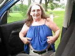 Old Redneck Granny Road Whore Gives a Blowjob