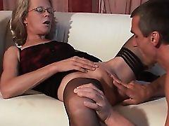 Nasty granny gets horny sucking
