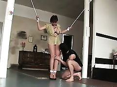 Mature lady gives bound blowjob