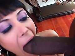 Hardcore 3some with busty hoe serving two giant black dicks
