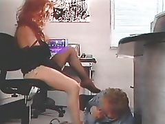 Guy sucks redhead's toes and high heels