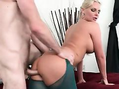 Big ass MILF humping massive shaft on sofa