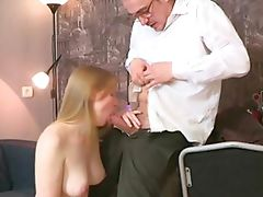 Teacher is getting wet blowjob Lusty babe is giving mature teacher a lusty blowjob session