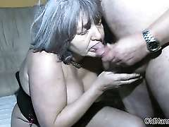 Dirty old woman goes crazy sucking dick