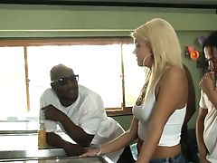Busty blonde ho Layla Price double fucked with black guys